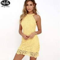 2018 Summer Womens Elegant Wedding Sexy Party Night Club Halter Neck Sleeveless Lace Short Dress C22