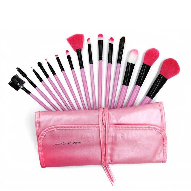 15pcs/set Pink Professional Makeup Brush Set Kits foundation/blusher/eyeshadow cosmetic makeup brush + Roll up Bag case