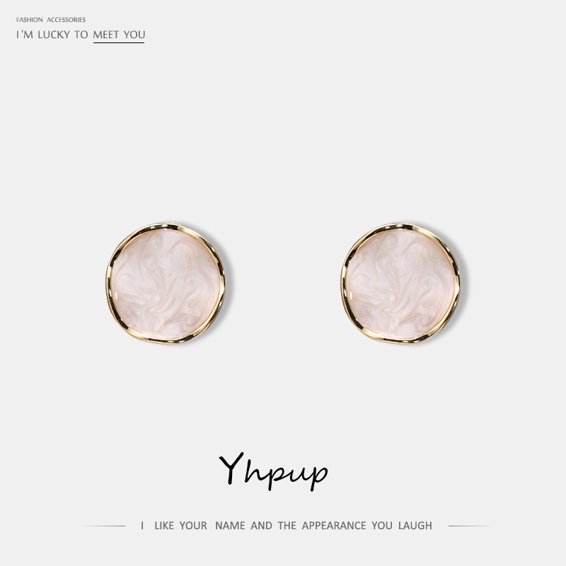 Yhpup New Fashion Minimalist Style Korean Stud Earrings Enamel Round Geometric Accessories S925 Silver Jewelry For Girl Office