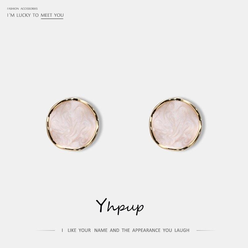 191.81руб. 38% СКИДКА|Yhpup новые модные корейские серьги гвоздики в минималистичном стиле, эмаль, круглые геометрические аксессуары, S925 серебряные ювелирные изделия для офиса для девочек|Серьги-гвоздики| |  - AliExpress