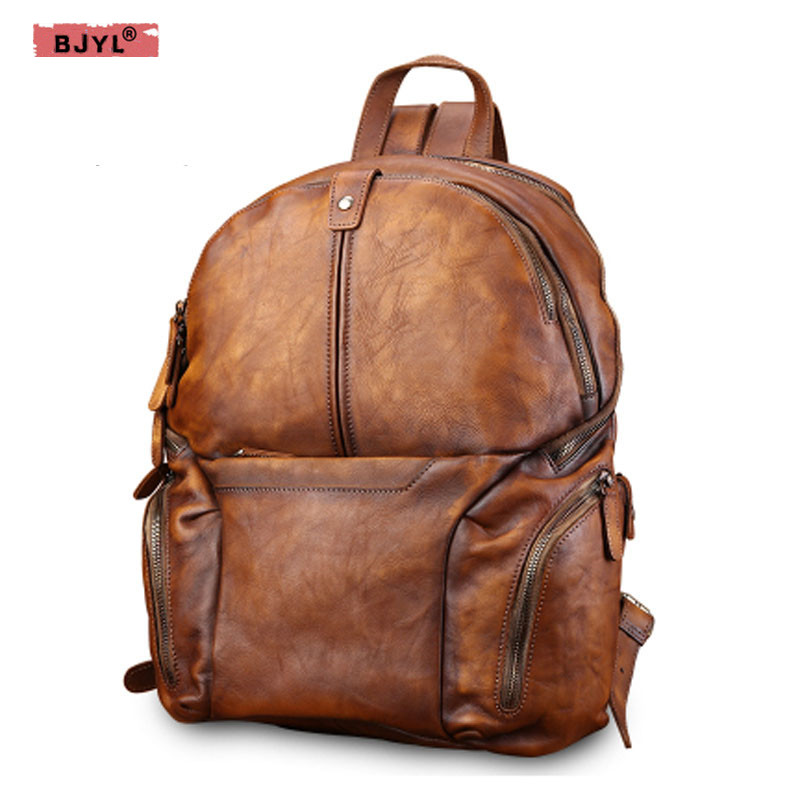 BJYL Retro casual Men Genuine leather bag male fashion trend mens backpack large capacity shoulder Bags mens travel BackpacksBJYL Retro casual Men Genuine leather bag male fashion trend mens backpack large capacity shoulder Bags mens travel Backpacks