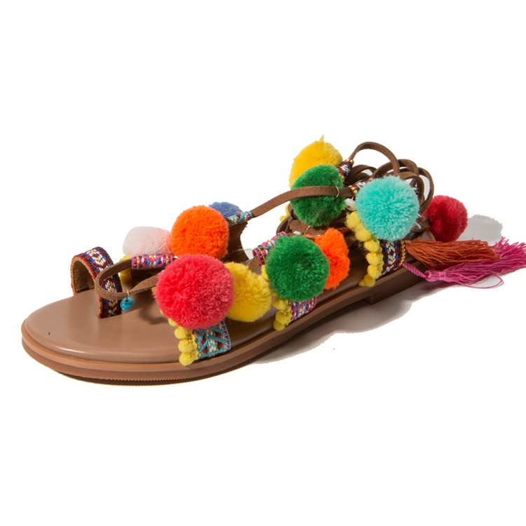 Themost 2018 Summer Girls Bohemin Style Flip Flops Pom Pom Lace up Flat Sandals Shoes bohemian style summer celebrity lace up flat shoes pom poms cute sandals skyblue pink colorful clip toe comfortable dress sandal