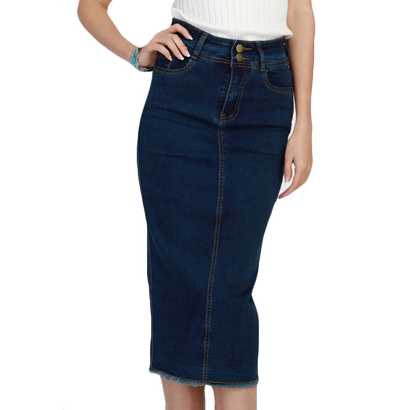 2017 denim skirt vintage button high waist pencil saia