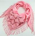 2014 Nueva Moda de Invierno Gruesa Bufanda de Encaje Rosa Triángulo de Seda de la Marca Bufanda Mujeres Chales Bordado Borla Del Todo-Fósforo