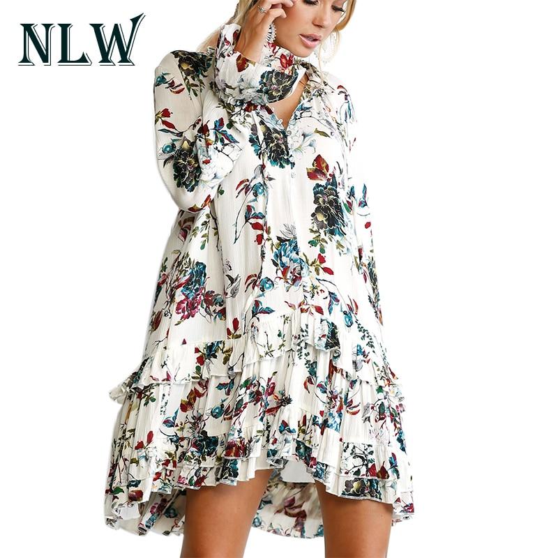 NLW Floral Print Boho Dress Sexy V Neck Ruffles Flare Sleeve Short Mini Autumn Dress Winter 2017 Womens Female Dress Vestidos