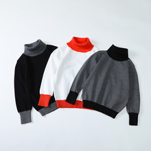Boys Sweaters Autumn Winter Girls Clothes Knitted Pullover Turtleneck Warm Outerwear Casual Children Sweater 5 6 8 10 12 Years
