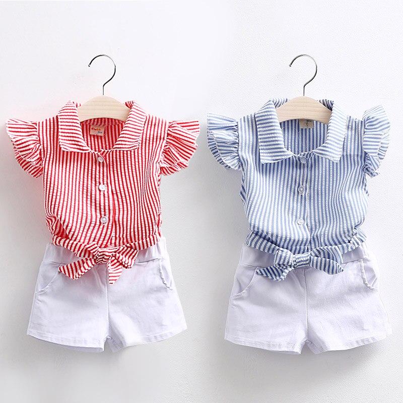 2018 Yaz 2 3 4 5 6 7 810 Yıl Genç Genç Çocuk Kız Pamuk Çizgili Fly Kollu Gömlek + beyaz Şort 2 Parça Kıyafetler Takım Elbise Setleri