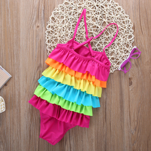 One-piece Little Girls Rainbow  Swimsuit Summer Beachwear Colorful Layered Striped Bikini Swimwear Bathing Swimsuit Super CUTR
