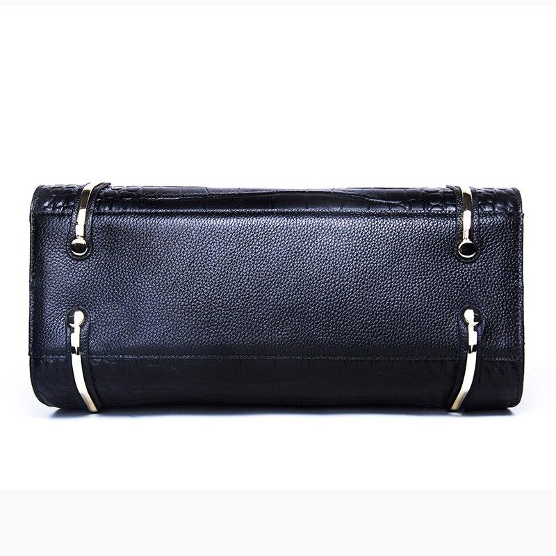 Mode femmes sacs en cuir véritable sacs à main Alligator haute qualité Zipper Design noir rouge dame sacs de bureau - 4
