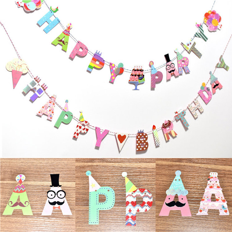 1Set Ice Cream Crown Party Hanging Banner Happy Birthday Decoration For Kids Birthday Party Gifts Flag Baby Shower Supplies