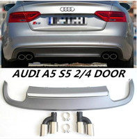JIOYNG 4 Outlet PP Rear Bumper Diffuser with Exhaust Tips For Audi A5 S5 2/4 door 2012 2013 2014 2015 2016