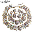 Ladyfirst za  Brand Gem Vintage White AB Color Crystal Chunky Statement Necklace Maxi Collier Luxury Maxi Choker Necklace 3281