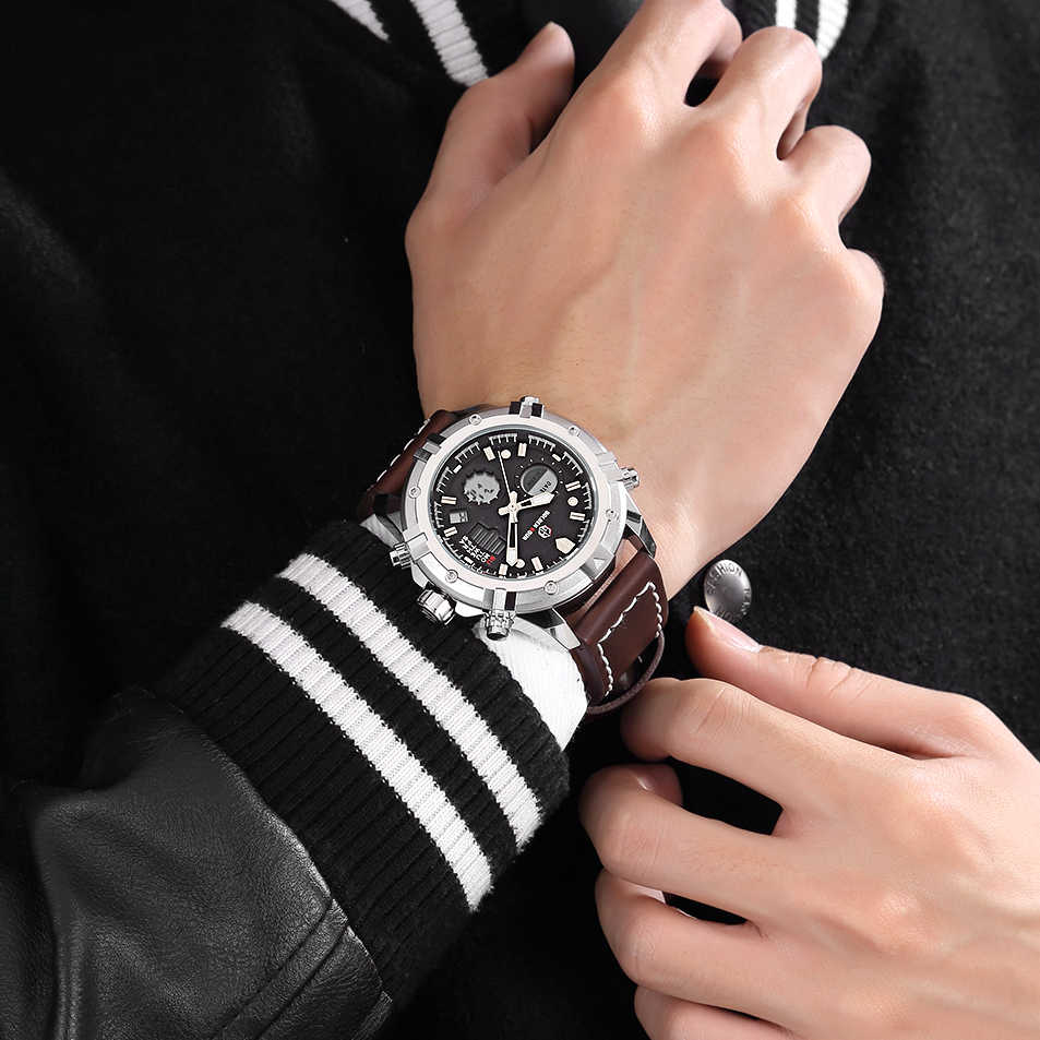 Relojes para hombre GOLDENHOUR reloj Digital analógico de cuarzo de lujo para hombre reloj de pulsera deportivo militar de cuero para hombre reloj Masculino