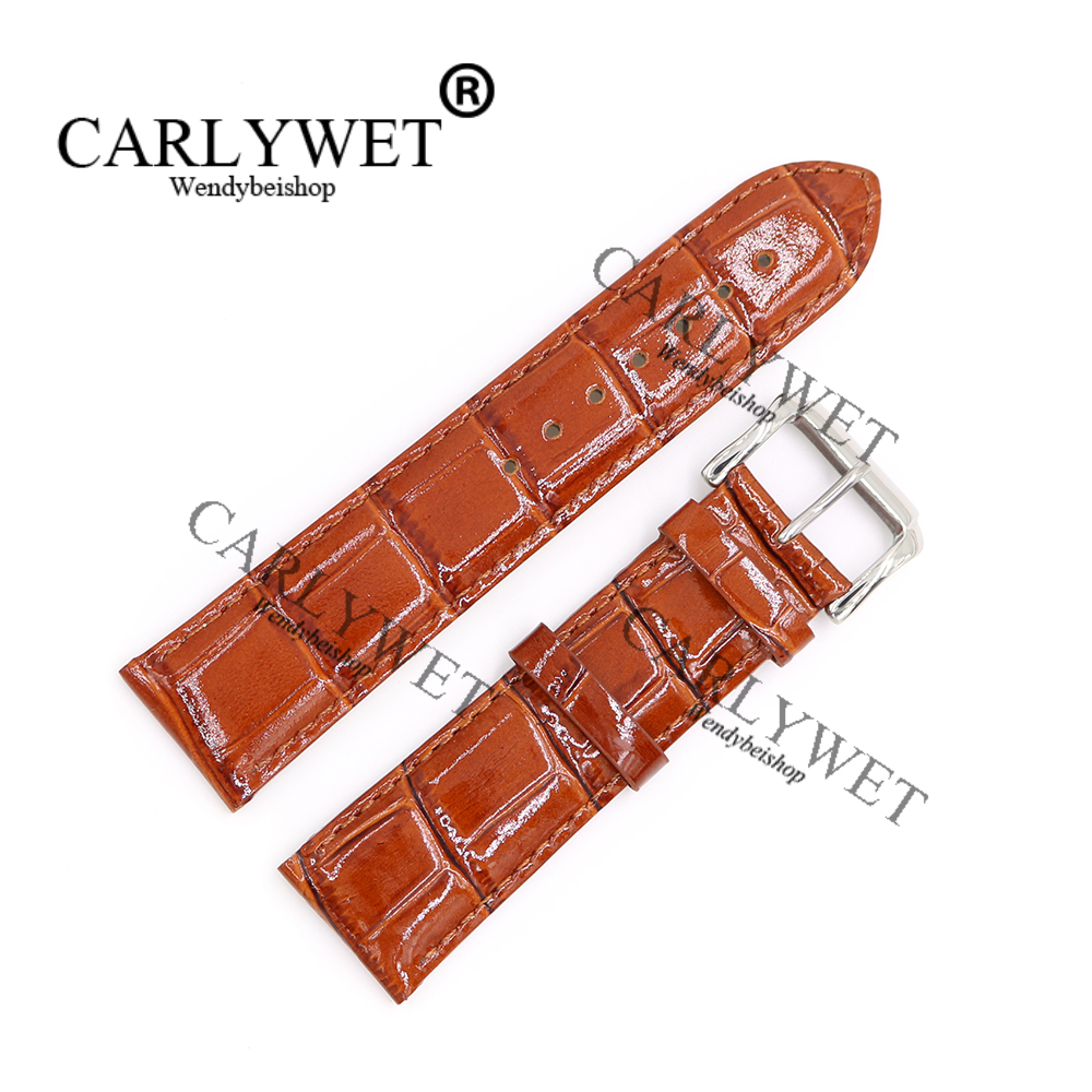 CARLYWET 18 20 22mm Shiny Genuine Leather Brown Crocodile Grain Strap Wrist Watch Band Belt With Silver polished Pin Buckle xoomz for iphone 7 crocodile genuine leather coated plating pc shell brown