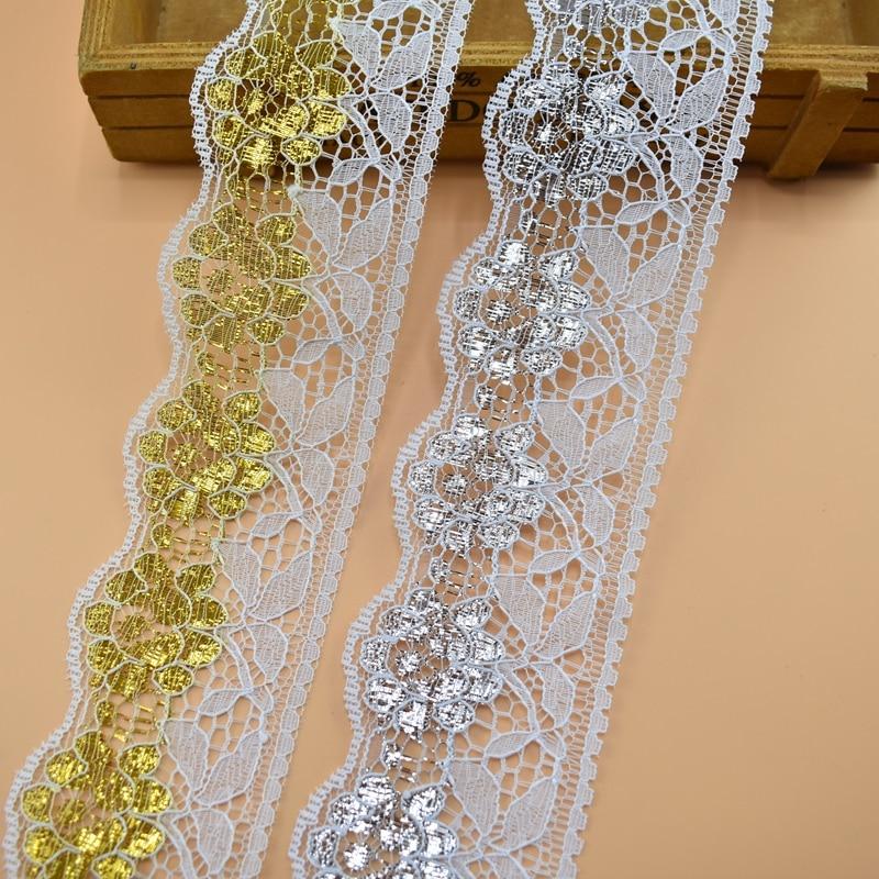 5 Yards 23mm White Lace Trim Ribbon Embellishment Wedding Dress Decoration