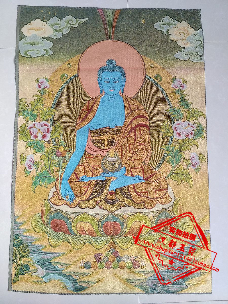 "24/""Tibet Buddhism Cloth Silk Mao Chairman Great Wall Thangka Embroidery Mural"