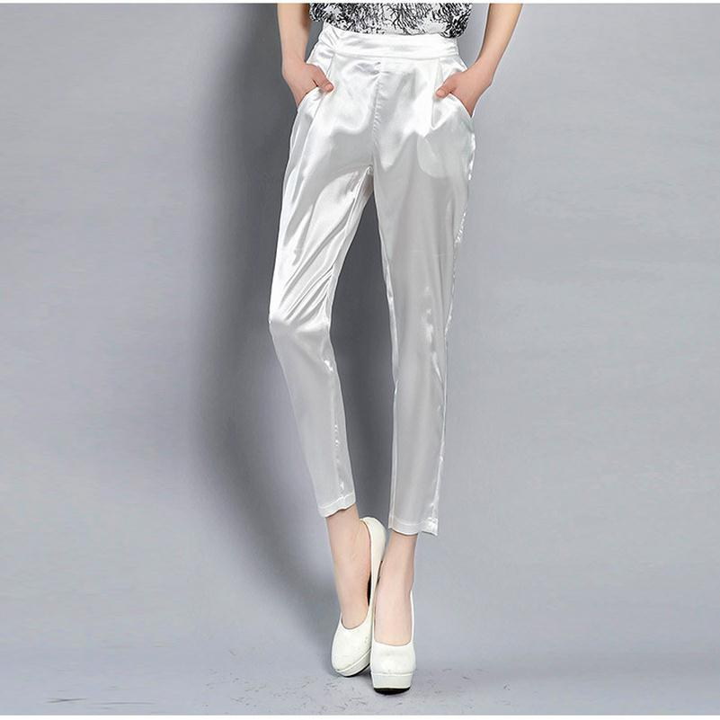 4XL 4colors Imitation Silk Ankle-Length Pants Trousers Harem Pants Elegant Female Pants  ...