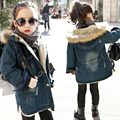 children jackets Girls Casual Denim Coats Hooded Faux Fur Collar Kids Outerwear Cotton Padded Baby Girl Boy Winter Coat