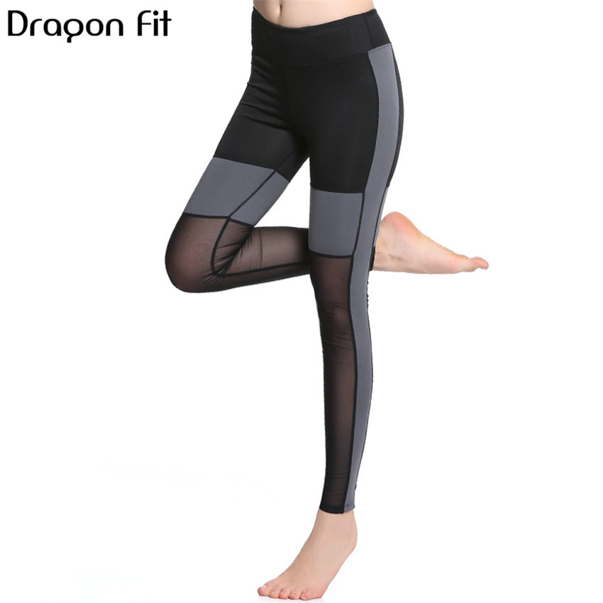 Dragon Fit Net Yarn Patchwork Breathable Yoga Pants Women Running Quick Drying Fitness Pants Compression Elastic Leggings