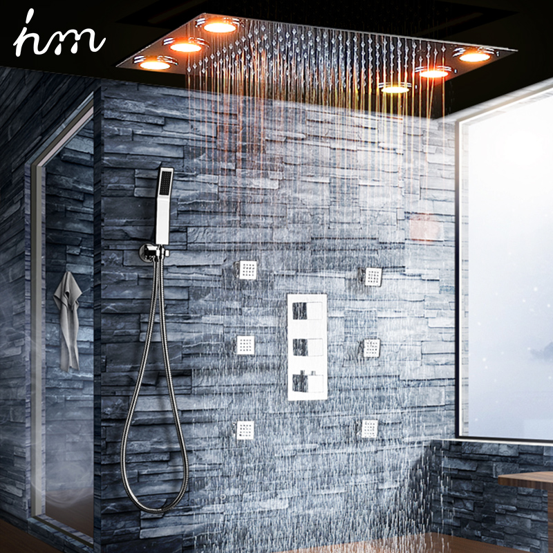 Luxury Shower Set Electric Led Large Rain Shower Head Ceiling Shower Faucet Panel Thermostatic