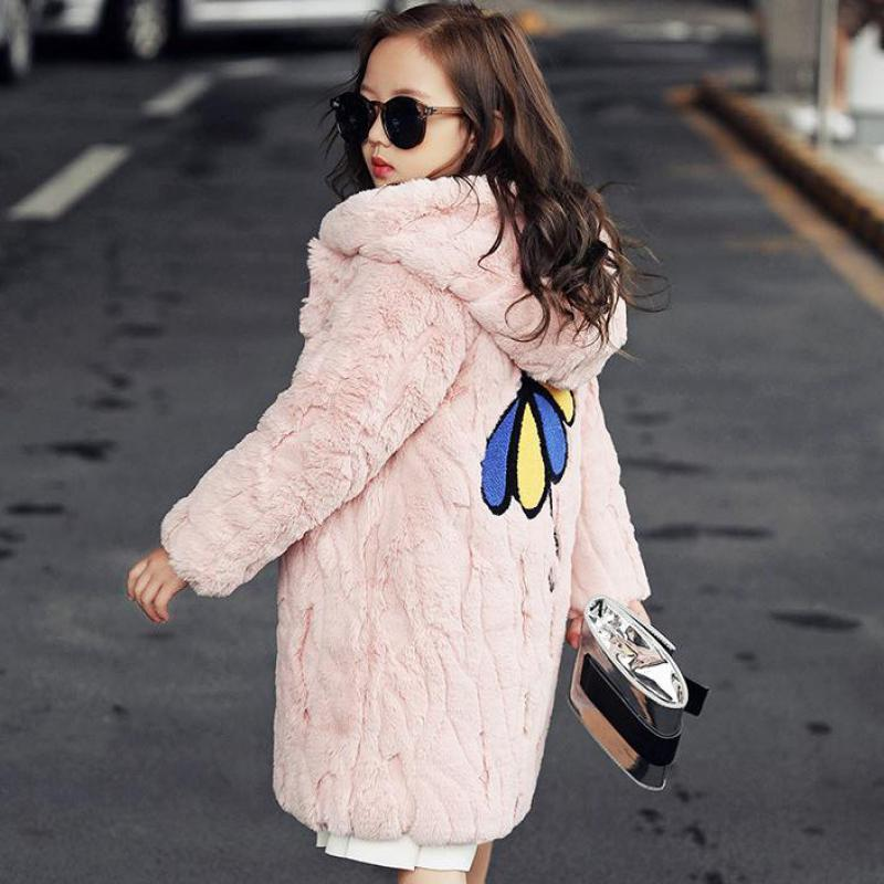 Winter Girls Warm Down & Parkas Jackets Teen Age Children Cotton-padded Jackets Fur Girl's Clothing Outerwear Hooded Girls Coats 2017 winter down jackets women winter coats fur hooded female long cotton padded parkas outwear jaqueta feminina inverno y1489