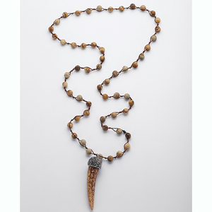 MOODPC Бесплатная доставка модное натуральное изображение камни Ox ожерелье с подвеской в форме рога женские ювелирные изделия ручной работы