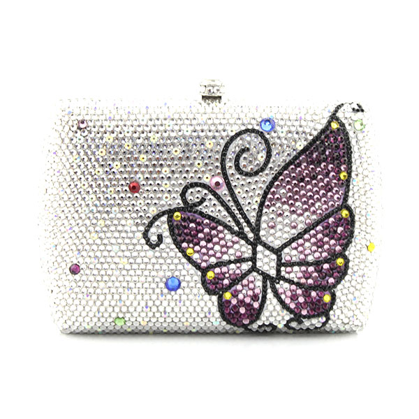 New Women metal Handbags With Sliver Chains Butterfly Pattern Crossbody Bags For Women wedding party bag(1015-WB) with logo sliver