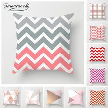 Fuwatacchi Pink Geometric Cushion Cover Wave Dot Arrow Pillow Case for Home Sofa Chair Decorative White Plaid Pillowcases