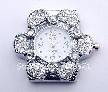 Free  Shipping 100pcs/lot Flower Diamond Watch Header,  Fashion Women Bracelet Watch Head DIY 1031