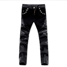 Man Leather Pants Skinny Spliced Fashion Men Slim PU Trousers Elastic Motorcycle Casual Stitching Clothes