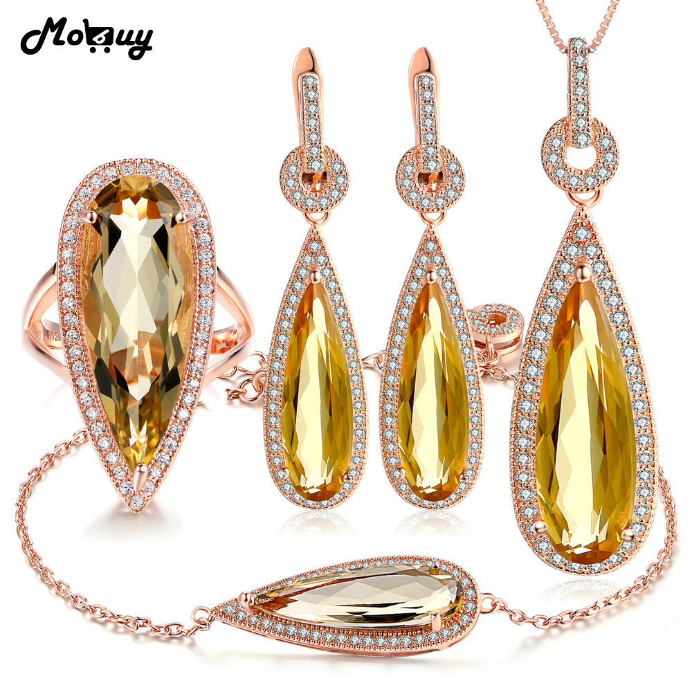 MoBuy 5pcs Pear Citrine Natural Gemstone 4pcs Jewelry Sets 100 925 Sterling Silver For Women Party