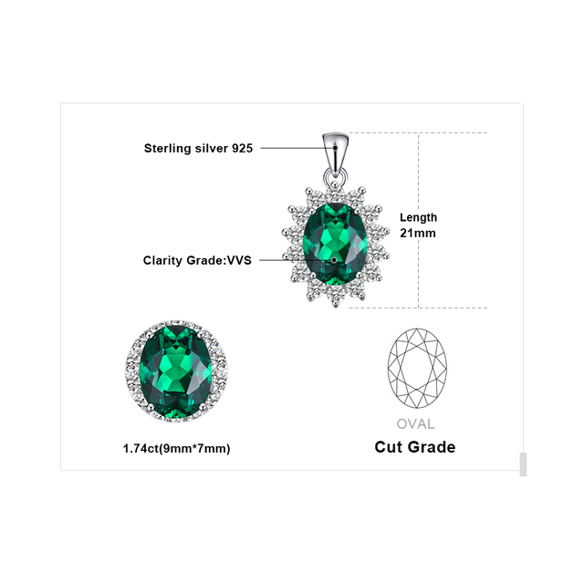 Jewelrypalace Principessa Diana William Kate Middleton delle Creato Emerald 925 Sterling Ciondolo In Argento Senza una Catena per Le Donne