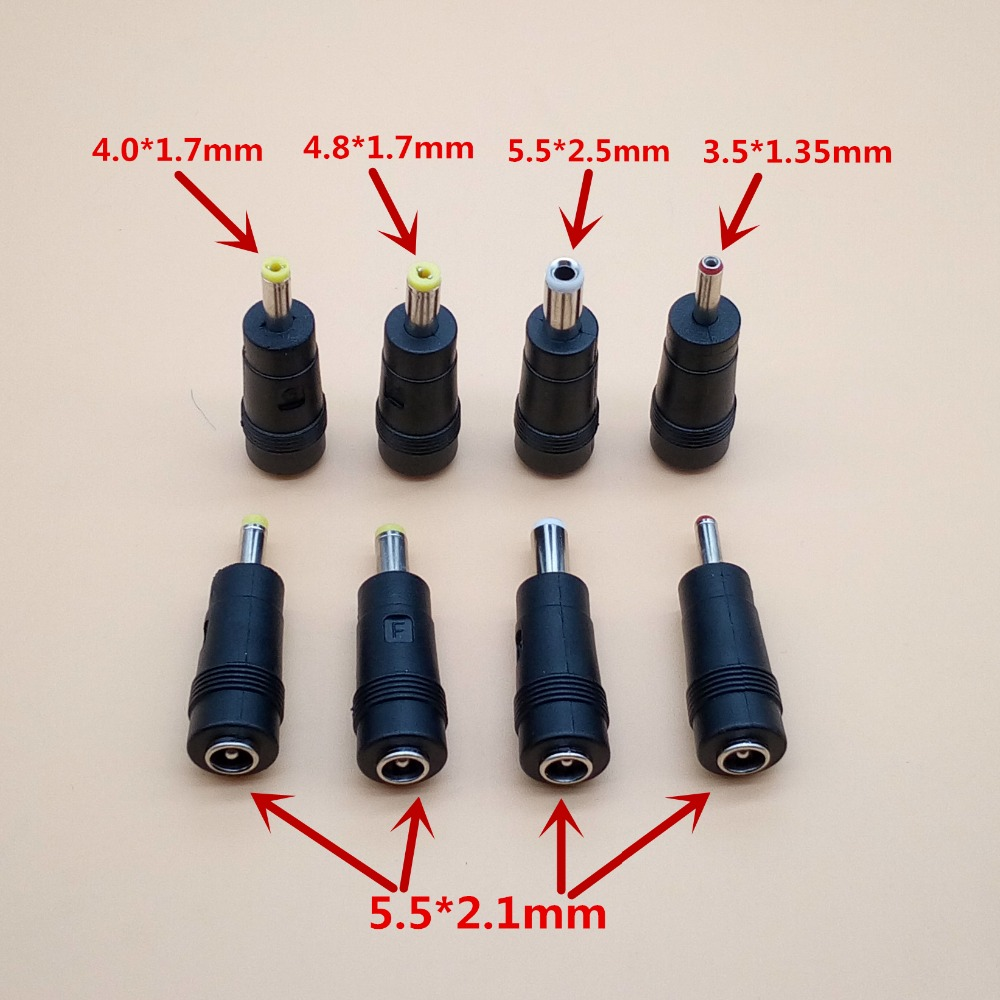 5pcs 5.5*2.1mm female to 4.0*1.7mm 4.8x1.7mm <font><b>3.5x1.35mm</b></font> 5.5 x 2.5mm male DC Power <font><b>Plug</b></font> jack Audio Connector Adapter Laptop image