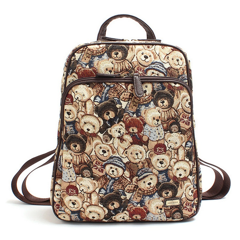 d936cb3a6848 Danny Teddy Bear Printing Girls Cute School Bags College Students Popular  Campus Backpack Winnie Pooh Cartoon Book Bag Feminina-in School Bags from  Luggage ...