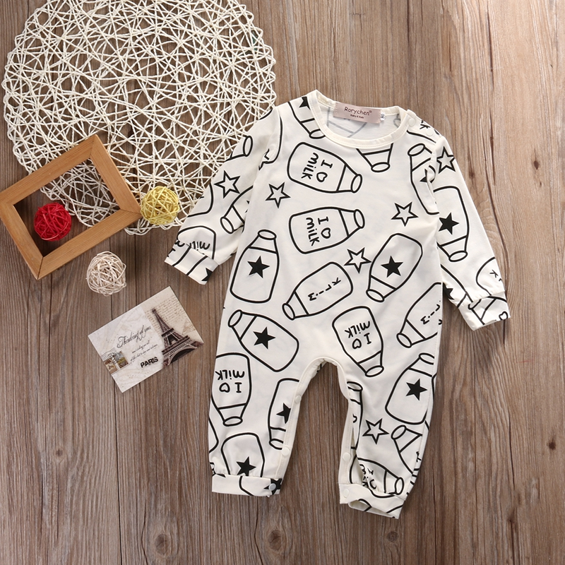 Newborn Cartoon Bottle Baby Boy Girl   Romper   Clothes Outfit Kids Long Sleeve Cotton   Romper   Jumpsuit