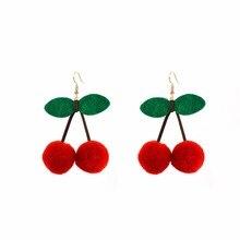 pom earrings for women big cherry statement fashion jewelry