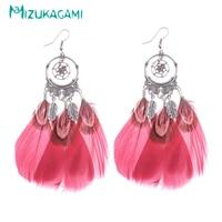 Earings Pendientes Mujer Colorful Peacock Feather Geometry Drop Earrings Zinc Alloy Material For Women Elegant Design Wholesale