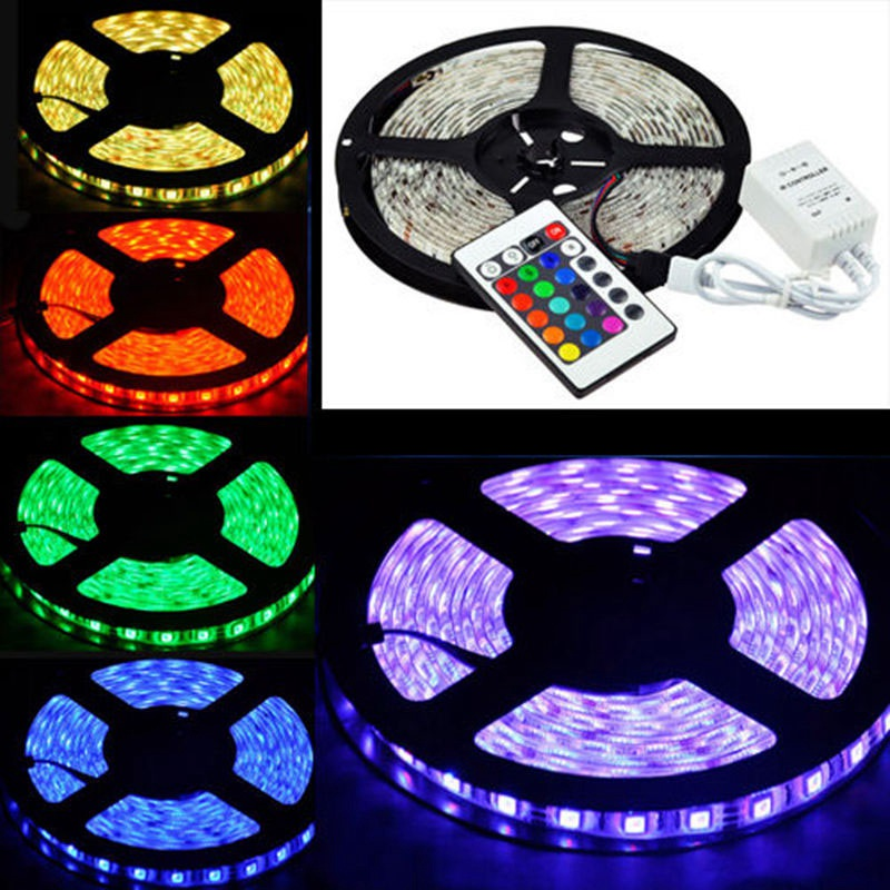 Mayitr Multicolor 5M RGB LED Strip Light 3528 300LED Car Boat Flexible Accent Strip Light Waterproof + 24KEY Remote Control ...