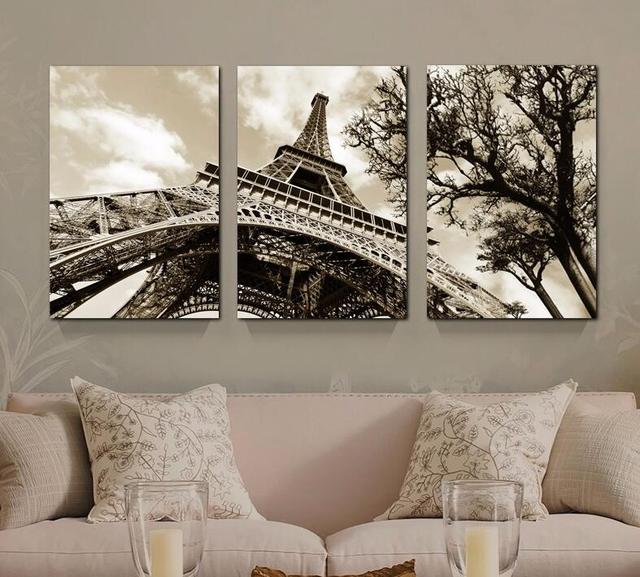3pcsset modern famous building paris eiffel tower no frame canvas painting spray wall art