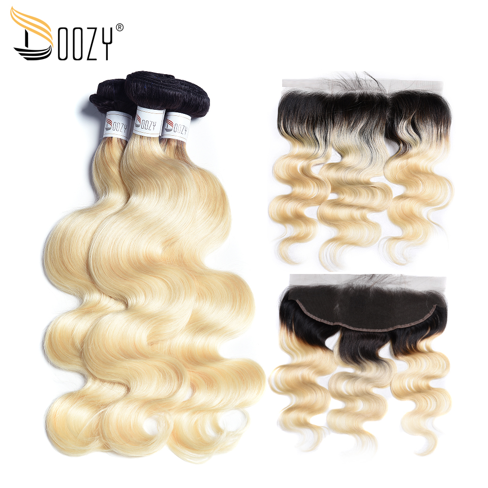 Professional Sale Doozy Ombre 1b/613 Brazilian Hair 3 Bundles Body Wave Remy Human Hair Weave With 13x4 Lace Frontal Closure Blonde Hair Possessing Chinese Flavors Human Hair Weaves 3/4 Bundles With Closure