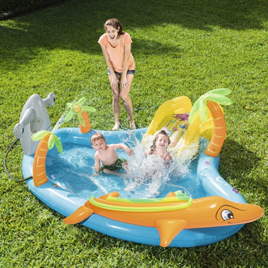 Милый интересный надувной морской бассейн с горкой и шаром автоматический распылитель воды дети играть в водный надувной бассейн