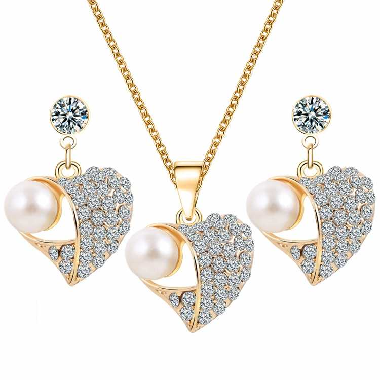 Trendy Crystal Simulated Pearl Inlay Gold Color Peach Heart Hollow Pendant Necklace Earrings Jewelry Set for Women Party Wedding