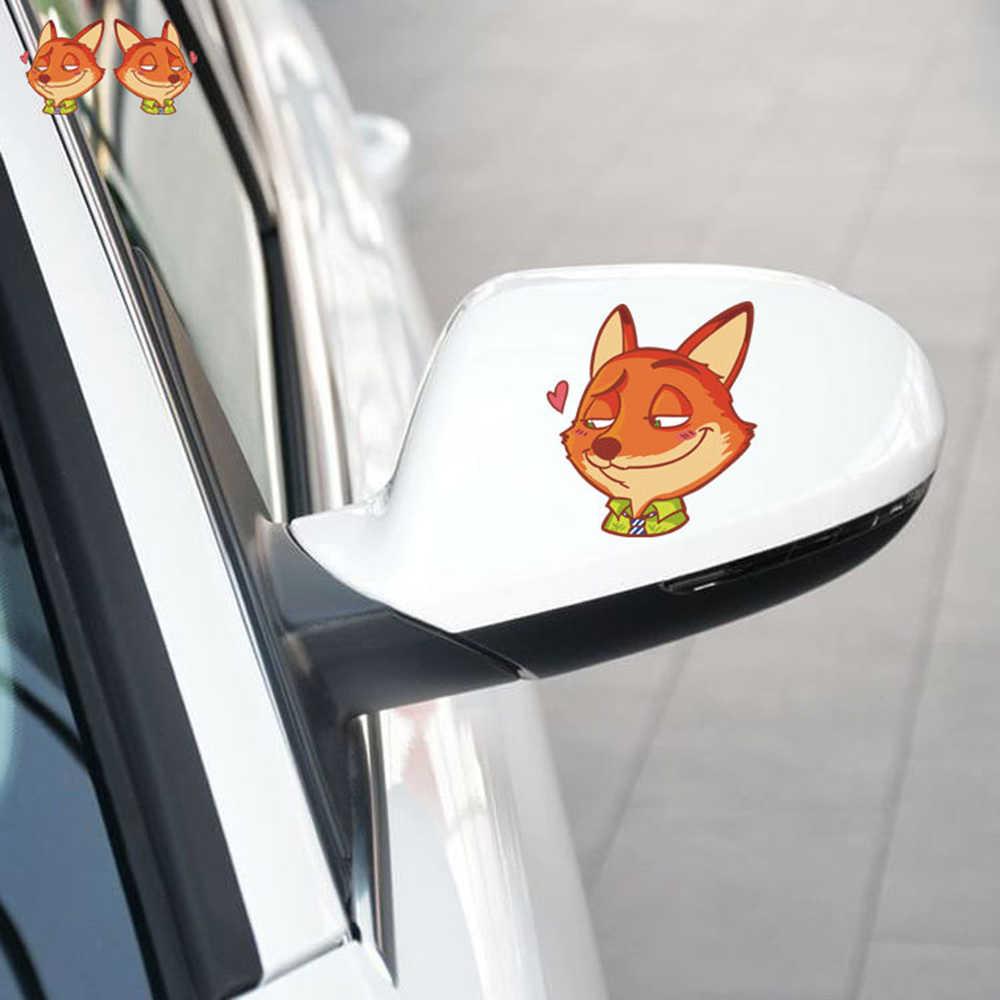 Aliauto Um Par das Zootopia Fox Espelho Retrovisor Etiqueta Do Carro Engraçado Decal Para Volkswagen Polo Golf Skoda Renault Opel Toyota Kia