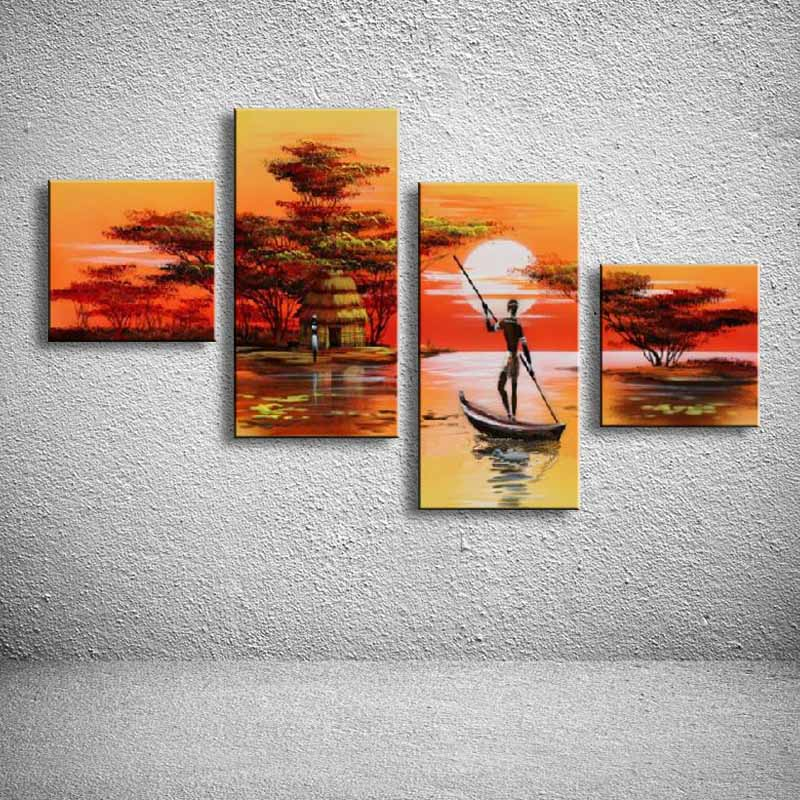 hand painted oil paintings on canvas African landscape home decoration Modern abstract Oil Painting wall DY-085