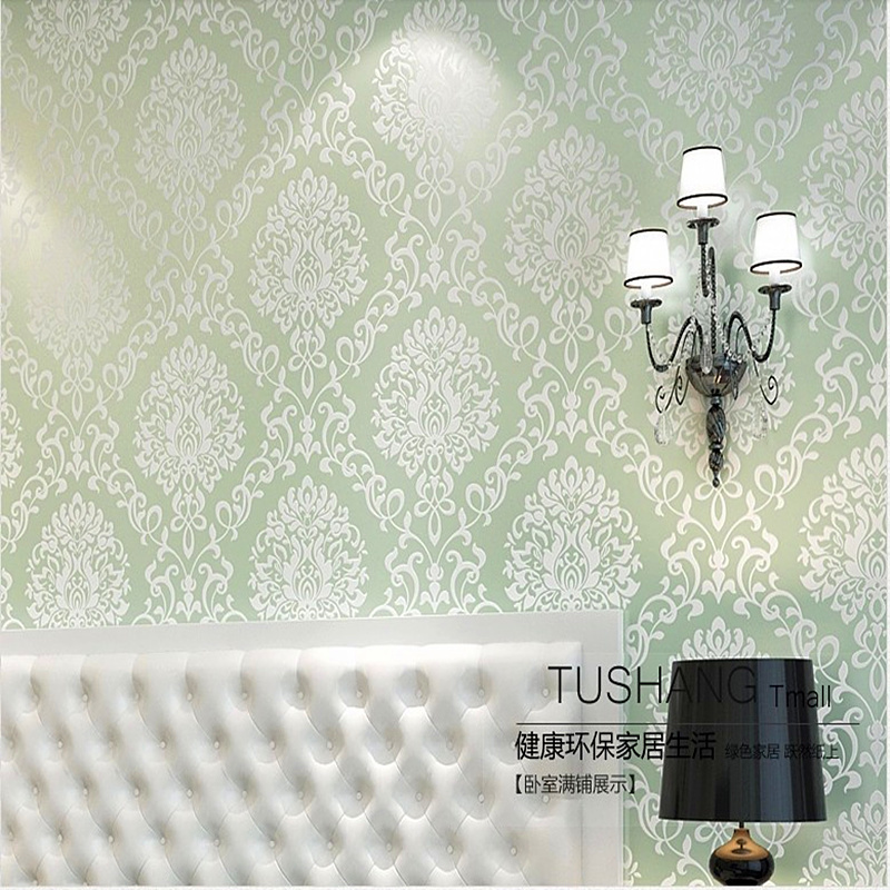 Home Decorated  Light Green Luxury Damascuscolor Wall Papers Bedroom TV Backdrop Wallpaper Roll