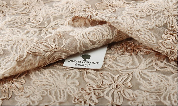 Crocheted embroidered 3d chiffon lace fabric, Bridal vanilla lace, 3D rose fabric, photography prop, backdrop
