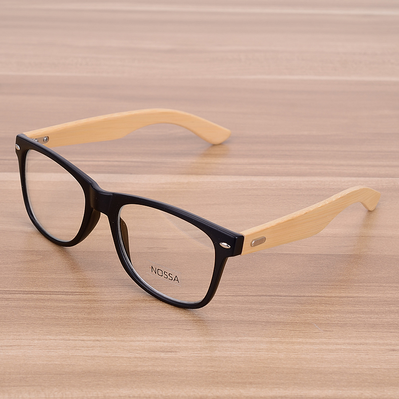 bamboo handmade vintage rivets eyeglasses frame mens retro wooden glasses frame womens classic myopia optical frame clear lens