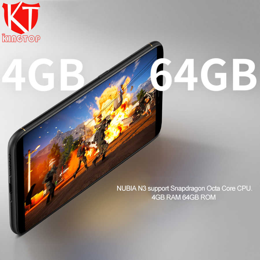 Оригинальный Нубия N3 мобильного телефона 5000 mAh 4G 64G 6,01 дюйма Восьмиядерный спереди 16.0MP двойной сзади Камера 5000 mAh отпечатков пальцев ID фононов