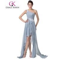 Free Shipping New Designer One Shoulder Short Front Long Back Evening Dress Gray Night Dinner Formal