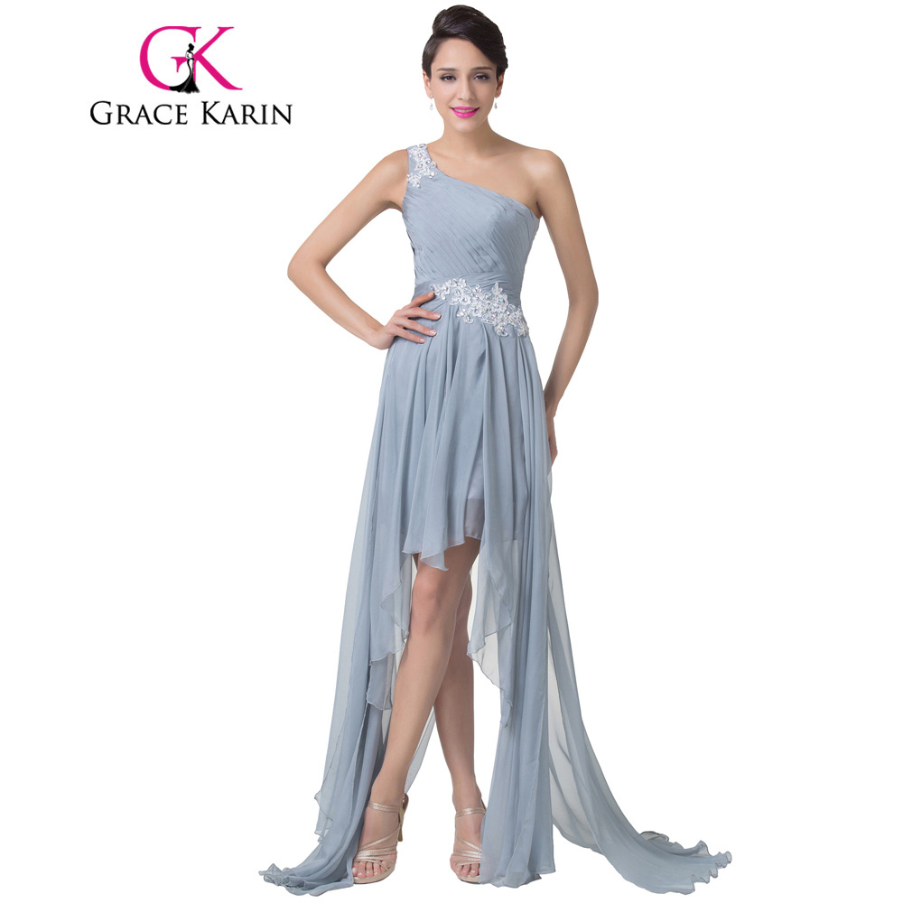 Discount Free Shipping Cwds078 One Shoulder With: Grace Karin One Shoulder Short Front Long Back Evening